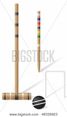 Equipment For Croquet Vector Illustration