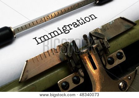 Immigration Text On Typewriter