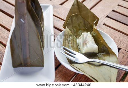 Close Up Opened Pack Of Steamed Flour Dessert