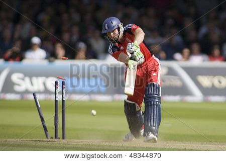 LONDON - 12 SEPT 2009; London England: England team player Luke Wright is bowled out during the Nat West, 4th one day international cricket match between England and Australia held at Lords Cricket ground