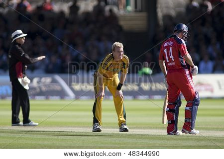 LONDON - 12 SEPT 2009; London England: Brett Lee centre, looks at Andrew Strauss after an unsuccessful appeal for his wicket during the Nat West, 4th one day international cricket match at Lords Cricket ground