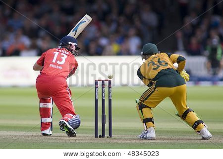 LONDON - 12 SEPT 2009; London England: England's Matt Prior watches the ball just miss his stumps as Timothy Paine looks on, during the Nat West, 4th one day international cricket match at Lords Cricket ground