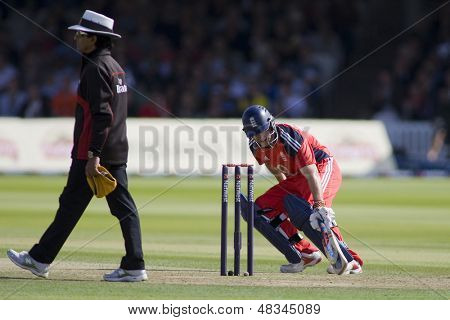 LONDON - 12 SEPT 2009; London England: England team captain Andrew Strauss runs his bat into the crease during the Nat West, 4th one day international cricket match at Lords Cricket ground