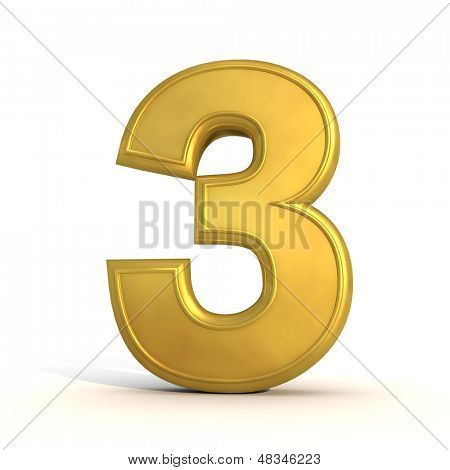 golden number 3 isolated on white background