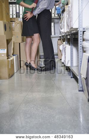 Side view lowsection of business couple embracing in office storage room