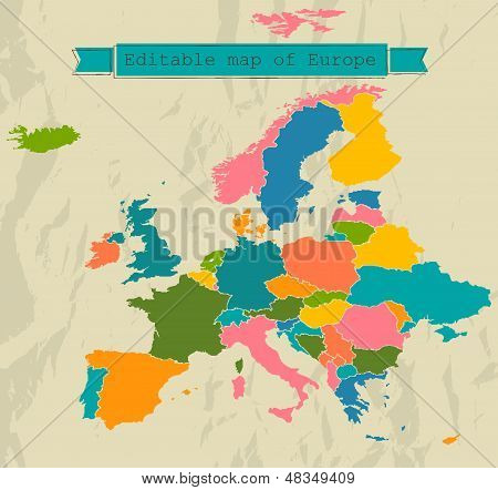 Editable map of Europe with all countries.