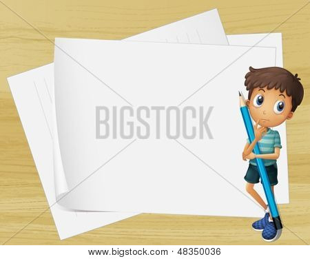 Illustration of a kid holding a pencil beside the empty papers