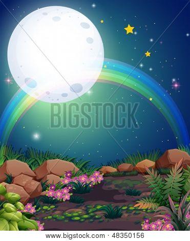 Ilustración de un arco iris durante la noche