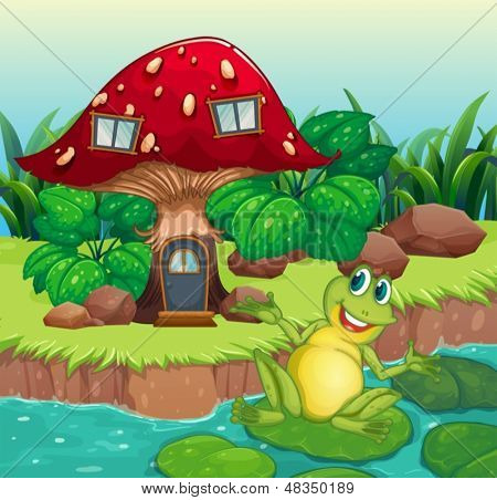 Illustration of a frog and a mushroom house