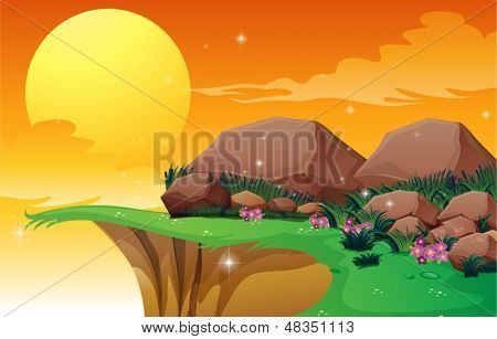 Illustration of the big rocks near the cliff