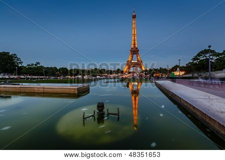 Eiffel Tower And Trocadero Fountains In The Evening, Paris, France
