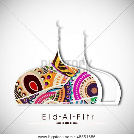 Muslim community festival Eid Al Fitr (Eid Muabrak) concept with floral decorated mosque design on abstract grey background.