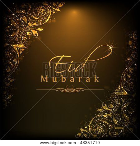 Shiny text Eid Mubarak on beautiful floral decorated background for muslim community festival.