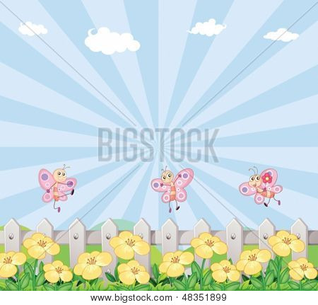 Illustration of the three butterflies at the garden with a wooden fence