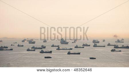 Vessels on road. Singapore strait.
