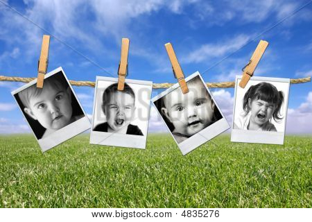 Toddlers Many Expressions Against A Grunge Mottled Background