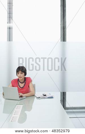 Beautiful young woman using laptop in modern cubicle