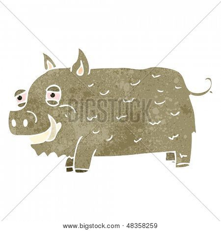 retro cartoon wild boar