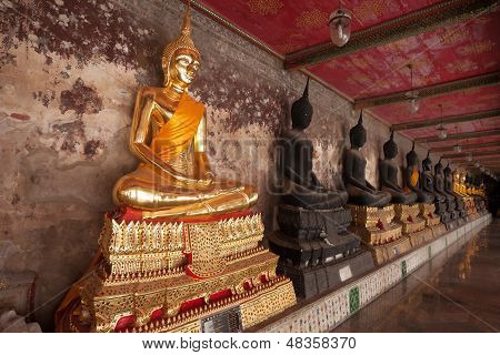 Golden Buddha At Corridor at Wat Suthat