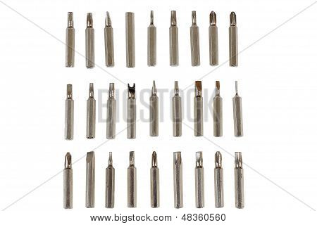 steel screwdriver tips of different types