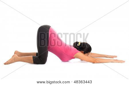 Prenatal yoga meditation. Full length healthy Asian pregnant woman doing yoga meditation at home, full body isolated on white background.