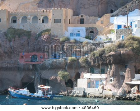 Boats And Cliff Santorini