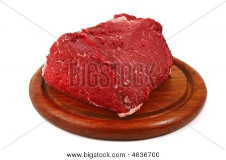 Meat Piece On Wood Shelf