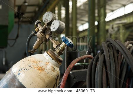 Gas Cylinder And Pressure Gauge