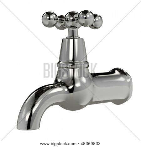Chrome water tap isolated on white