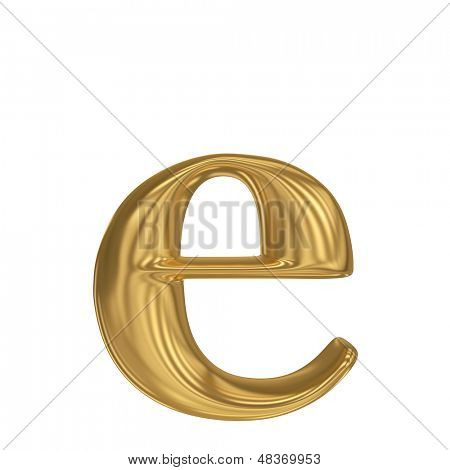 Golden letter e. Gold solid alphabet, high quality 3d render