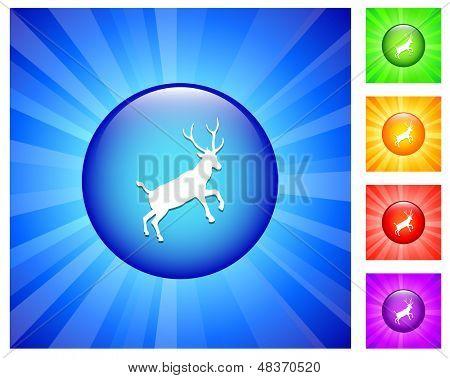 Hirsch-Symbol auf die Runde Schaltfläche mit Blue Glow