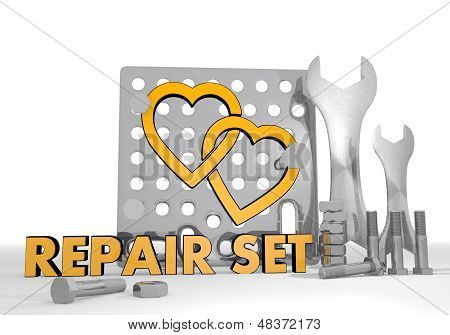 3D Render Of A Coltish Two Hearts Icon Repair Set