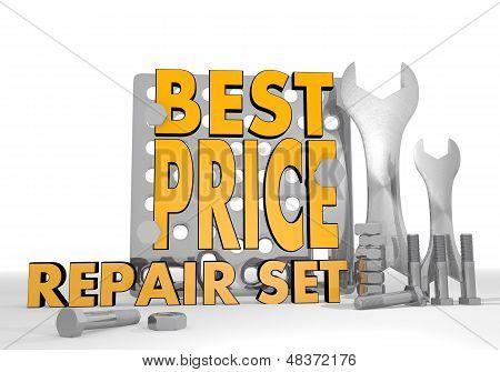 3D Render Of A Mechanical Best Price Symbol Repair Set