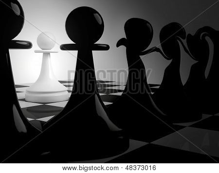 Chess Fantasy With Dancing Black Pawns And Alone White Pawn In Dark Room. 3D Render Illustration.