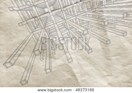 Ink Blueprint With Perspective View Of An Abstract 3D Braced Construction On Old Paper