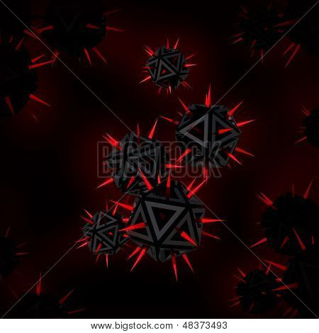 Abstract Illustration Of A Virus As A Few Red Sharp Objects With Spikes Against Black Background