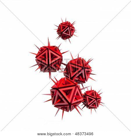 Abstract Illustration Of A Virus As A Few Red Sharp Objects With Spikes Isolated On White Background