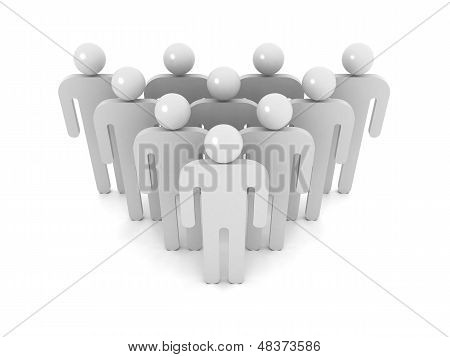 Group Of Schematic Gray People On White Background With Soft Shadow. Crowd Metaphor, 3D Illustration