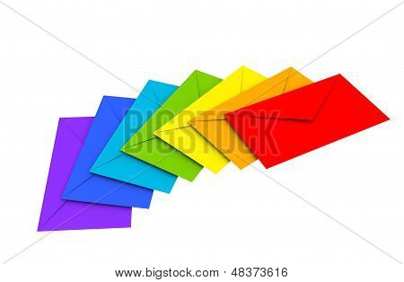 Colorful Envelopes Isolated On White Background As A Metaphor Of Happy Chain Letters