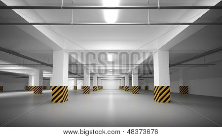 Abstract Empty White Underground Parking Interior