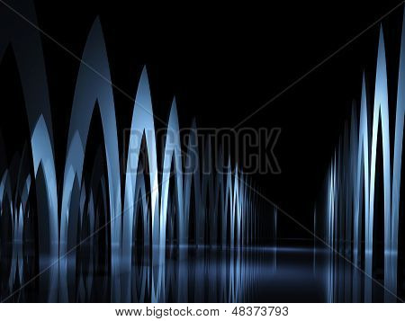3D Render Illustration: Abstract Dark Background With Gallery Of Sharp Cyclic Elements