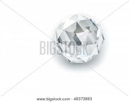 Shining Spherical Crystal On The White Background