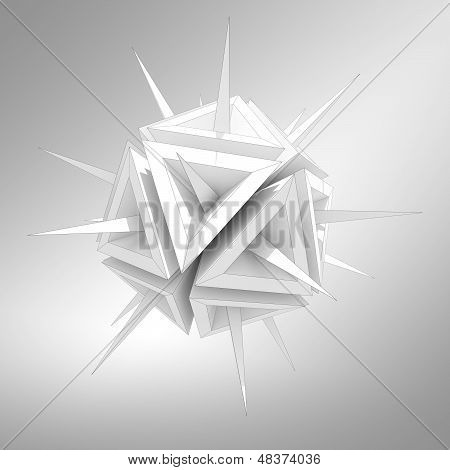 Abstract Illustration Of A Virus As A White Sharp Object With Spikes