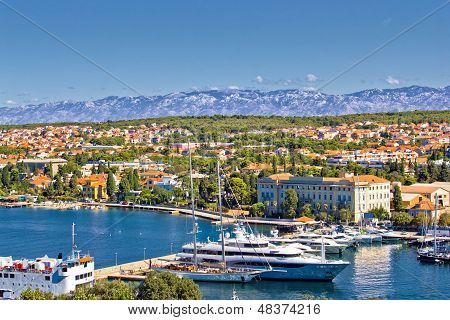City Of Zadar Harbor And Velebit Mountain