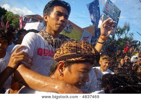 Water Sprayed In Crowd