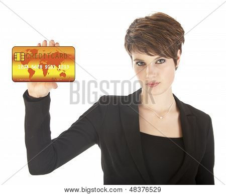 Young Woman Holding Credit Card Isolated On White Background