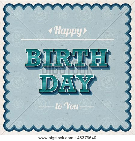 Stylish Vintage Retro Happy Birthday Card