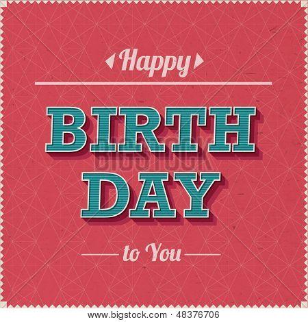 Vintage Happy Birthday Vector Card