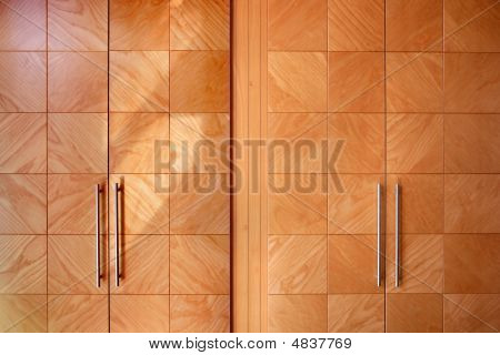 Wooden Office Modern Closet Orange Doors