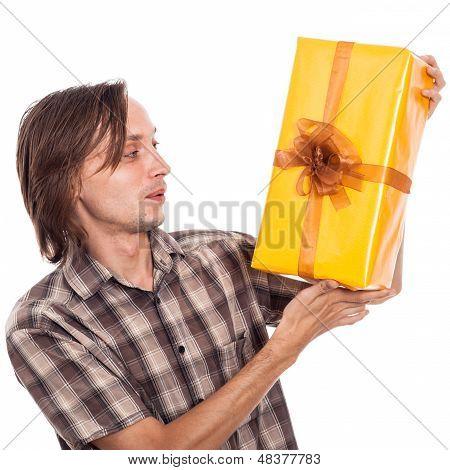 Überrascht Man mit Geschenk